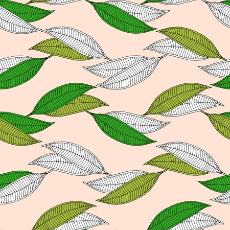 Plumeria horizontal abstract leaf seamless pattern. Isolated green and white leaves on a beige background. Vector Illustration