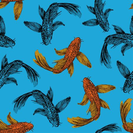Seamless pattern of floating gold and black fish on a blue background. Floating carps. Ilustracja