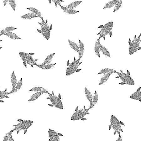 Swimming fish seamless pattern. Drawing in the form of a sketch in ink.