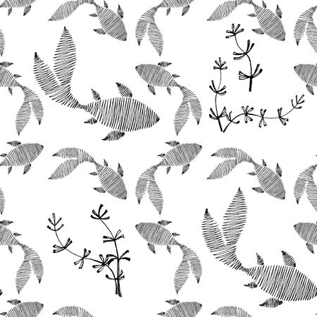 Seamless pattern from different swimming fishes. The drawing in the form of a sketch is drawn in black ink.