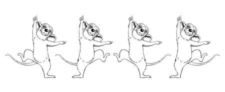 An image of a rat cartoon sketch dancing. Holiday Set. Standard-Bild - 131296773