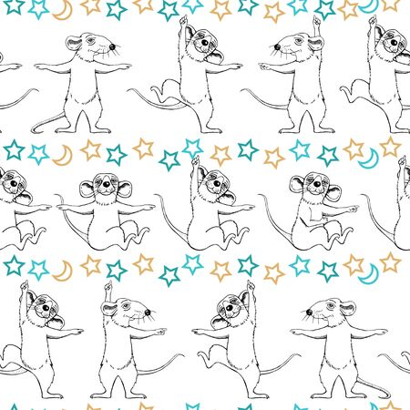Dancing and sitting rats. Moon and stars. Seamless pattern.