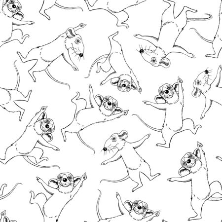 Funny rats are dancing. Cartoon. Set. Seamless pattern.