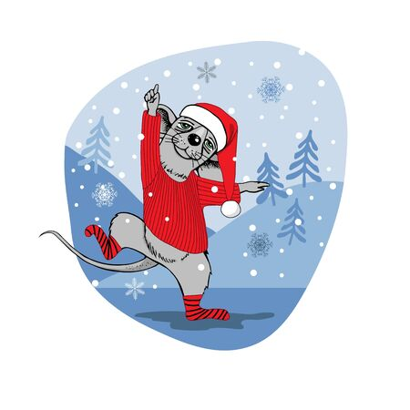 Christmas rat in the snow. A rat dressed as Santa Claus is dancing and having fun. Postcard. Complimentary ticket. Christmas.