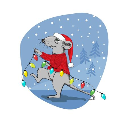 Christmas rat with a gift. A rat dressed as Santa Claus carries a garland of colored light bulbs. Postcard. Complimentary ticket. Christmas. Иллюстрация
