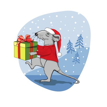 Christmas rat with a gift. A rat dressed as Santa Claus carries a gift box. Postcard. Complimentary ticket. Christmas. Ilustracja