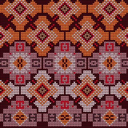 Knitted pattern of ethnic figures. Oriental motives. Pattern for hand knitting. Orange coffee shapes on a dark background.