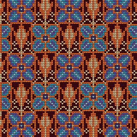 Knitted pattern of blue flowers and yellow flower buds. Image of plant elements in cells.
