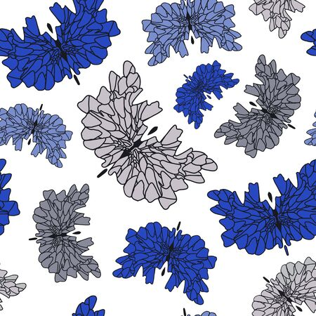Abstract flying blue and gray butterflies. Fantasy insects. Seamless pattern.