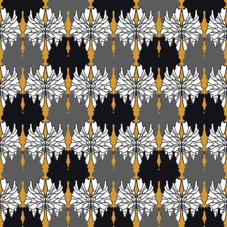 Abstract graphic pattern of black, white, gray and gold elements. Fantasy geometry of flowers. Vintage. Oriental pattern. Wallpaper. Background.