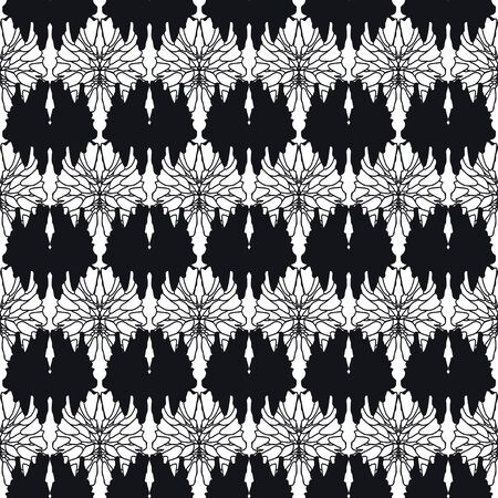 Fantasy flowers seamless pattern. Black and white image of elements on a white background. Graphic arts. Background. Texture