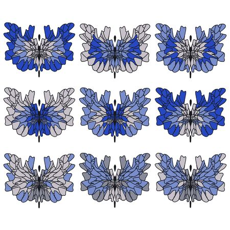 Set of abstract butterflies in blue and gray colors. Separate butterflies with variegated wings. Ilustracja