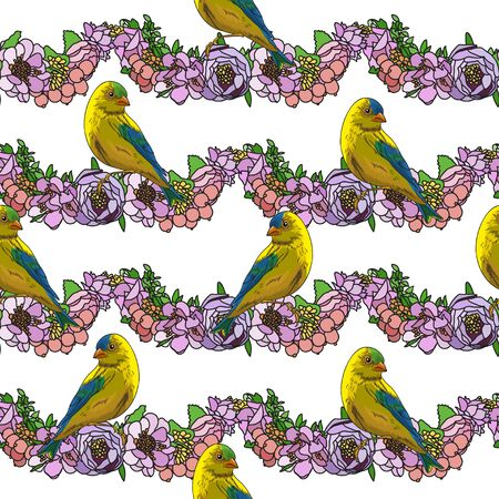 Figure flower arrangement on a white background. Little birds. Vintage style. Background for textile. Seamless pattern.