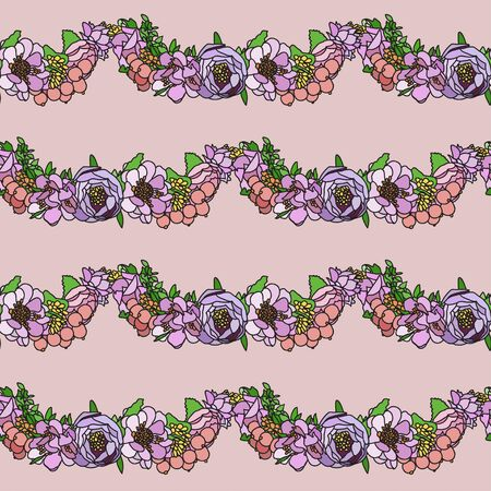 Stripes of flower arrangement on a pink background. Vintage style. Delicate pink. Background for textile. Wedding. Seamless pattern. Ilustracja