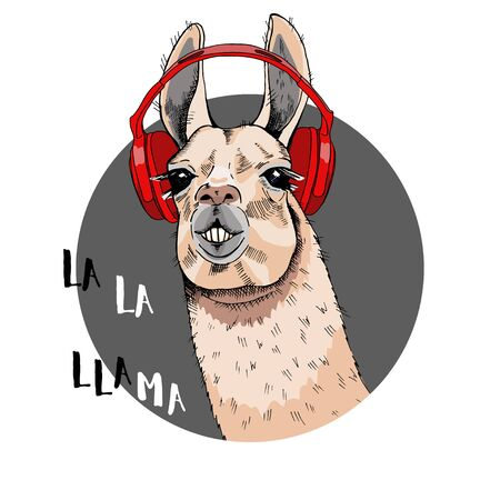Cool poster. Portrait of a cheerful llama in red headphones on his head. The inscription LA LA Lama. Greeting card, t-shirt composition, hand-drawn print style. Vector illustration