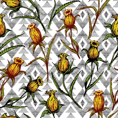 Yellow single flowers on a background of geometric shapes. Seamless pattern. Drawing painted sketch. Suitable for printing on fabric and paper.