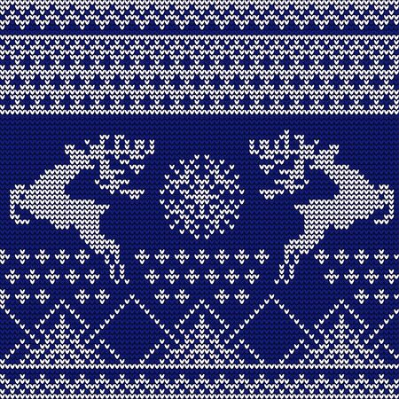 Knitted pattern with the image of deers and stars. Blue and white drawing. Imitation of knitted fabric. Christmas pattern. New Year pattern. Suitable for knitted clothes. Ilustracja