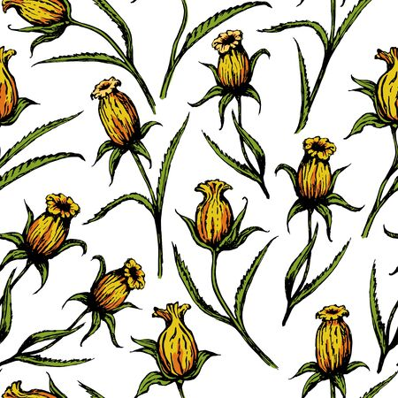 Yellow single flowers on a white background. Seamless pattern. Drawing painted sketch. Suitable for printing on fabric and paper. Ilustracja