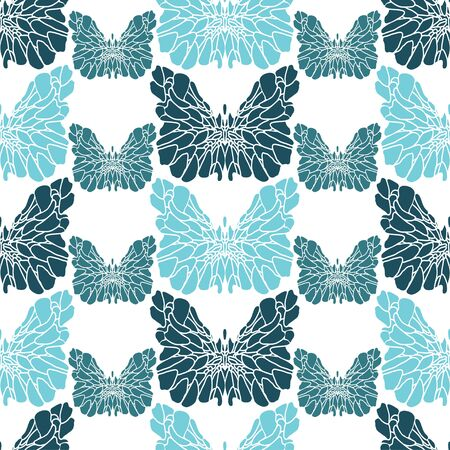 Fantasy blue-green butterflies on a white background. Stencil. Set. Seamless pattern. Print suitable for textiles and wallpapers. Ilustracja