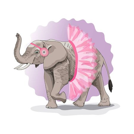 Drawing of an African elephant in a tutu. Humorous print. Vector illustration. Suitable for printing on a t-shirt, box, bag.
