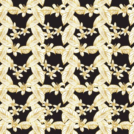 Golden flowers and lemon leaves folded in vertical and horizontal lines. Seamless pattern. White and gold pattern on a dark background.