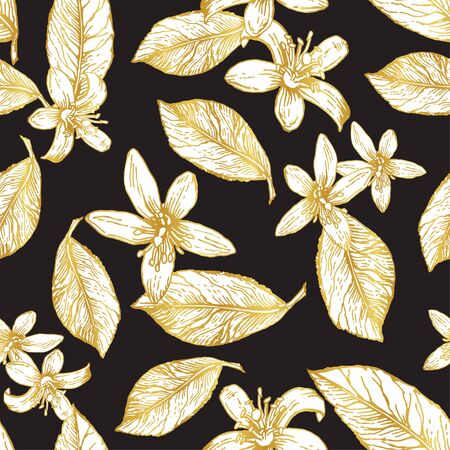 Golden flowers and lemon leaves on a dark background. Seamless pattern. Suitable for textiles, wallpaper and upholstery. Иллюстрация