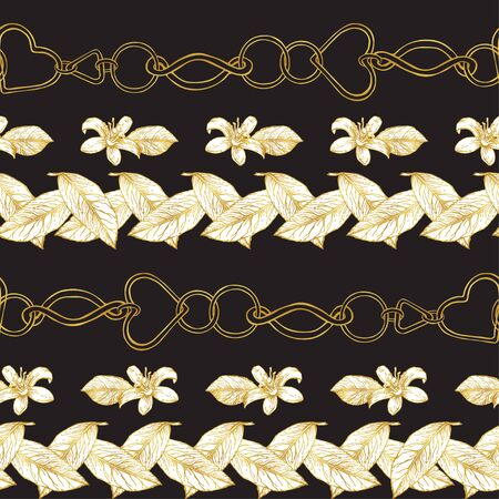 Pattern of gold chains and lemon flowers. Drawing in a gold outline on a dark background. Jewelry. Flowers Seamless pattern. Ilustracja