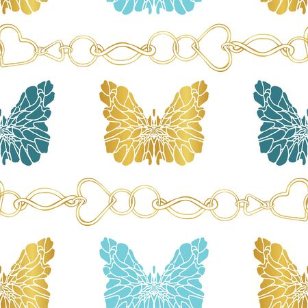 Seamless pattern of golden chains and butterflies on a white background. Gold, green and blue butterflies in the form of a stencil. Fashion print. Horizontal pattern.
