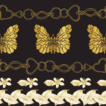Seamless pattern of golden chains, butterflies and lemon flowers on a black background. Fashion print. Horizontal pattern. Suitable for pillows, scarves, textiles. Ilustracja