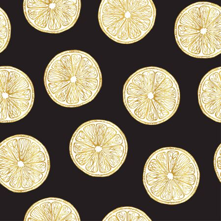 Pattern of slices of golden lemons. Fruits in a gold outline on a dark background. Seamless pattern. Ecological food.