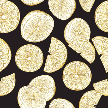 Pattern of slices and halves of lemons on a dark background. Seamless pattern. Fruits. Eco print. Ilustracja