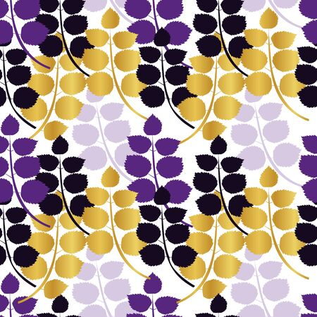 Autumn leaves of plants on a white background. Gold, purple and lilac branches. Seamless pattern. Ilustracja