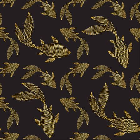 Big and small goldfish on a dark background. Silhouettes of fish in the form of a zigzag. Imitation of embroidery with threads. Seamless pattern. Ilustracja