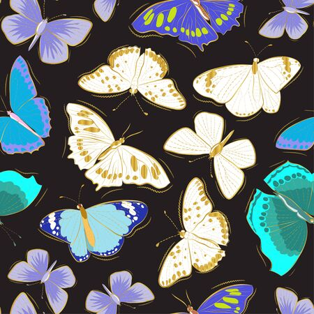 Blue-green and gold butterflies on a dark background. Set of butterflies. Seamless pattern.
