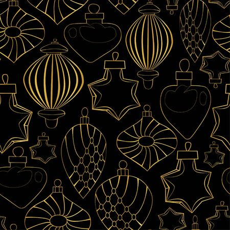Christmas toys in the form of golden contours on a dark background. New Year pattern. Set of Christmas toys. Merry Cristmas. Seamless pattern. Ilustracja