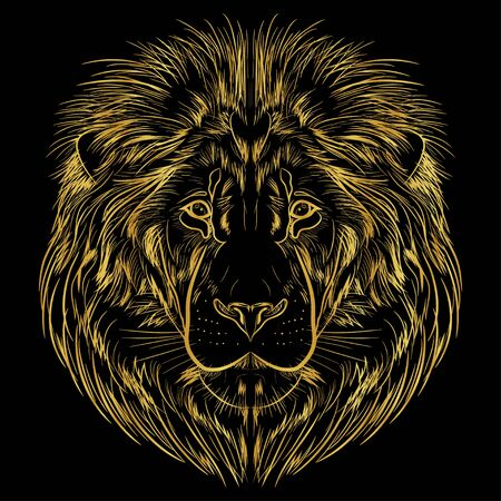 Portrait of a lion on a black background. Image of a lions head in a golden contour. Postcard, emblem.  Ilustracja