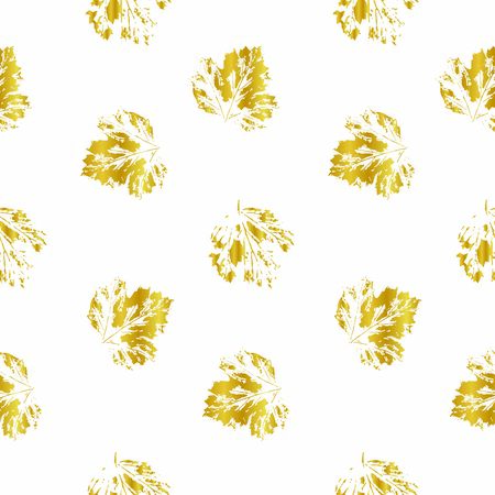 Pattern of gold prints of viburnum leaves. Imprints of individual leaves on a white background. Seamless pattern. Natural leaves. Ilustracja