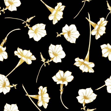 White flowers with a golden outline on a black background. Seamless pattern. Set. Petunia.