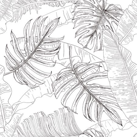 Black and white drawing of tropical leaves. Banana plants, monstera and palm on a white background. Seamless pattern. Pattern for wallpaper, textile. Sketch style.