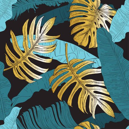 Blue, green and golden tropical leaves. Banana plants, monstera and palm on a black background. Seamless pattern. Pattern for wallpaper, textile.