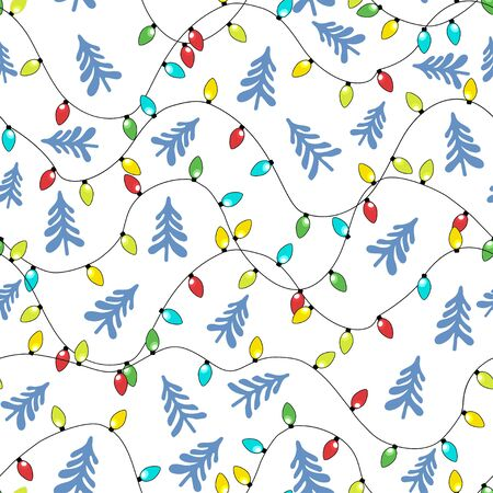 Christmas-tree multicolored garlands and blue Christmas trees on a white background. Festive seamless pattern. New Year Christmas. Ilustracja