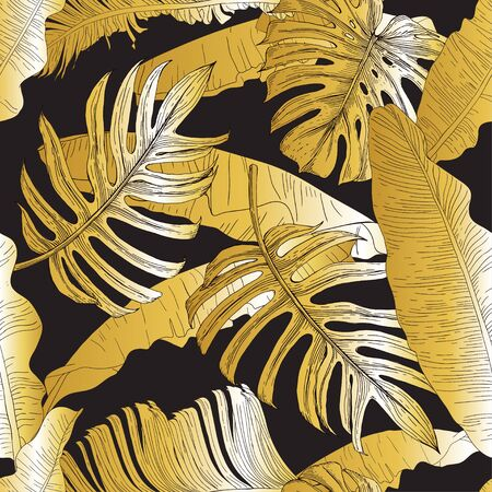 Golden tropical leaves. Banana plants, monstera and palm on a black background. Seamless pattern. Pattern for wallpaper, textile.