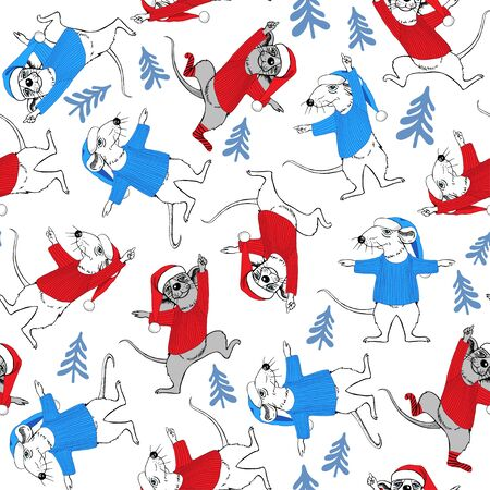 Rats in blue and red costumes of Santa Claus and blue Christmas trees. New Year seamless pattern. Symbol of the year. Ilustracja