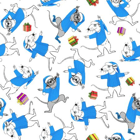Rats in blue suits of Santa Claus and multi-colored gift boxes. New Year seamless pattern. Symbol of the year.
