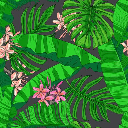 Green tropical leaves and pink plumeria flowers. Banana bushes, monstera and palm trees on a black background. Seamless pattern. Pattern for wallpaper, textile.