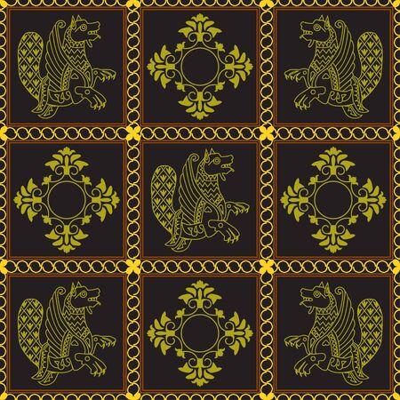 Ancient image of a dragon. Drawing of animals in dark squares framed by a chain. Motives of ancient Byzantine and Chinese fabrics. Suitable for furniture upholstery, textile, paper. Illustration