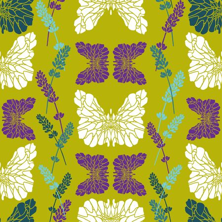 Fantasy multi-colored small and large butterflies on a green background. Stencil of purple, white, blue and green butterflies with lavender flowers. Seamless pattern. The pattern is suitable for texti Ilustracja