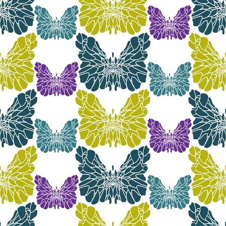 Fantasy multi-colored small and large butterflies on white. Stencil of purple, blue and green butterflies. Seamless pattern. Pattern suitable for textile, paper, wallpaper. Иллюстрация