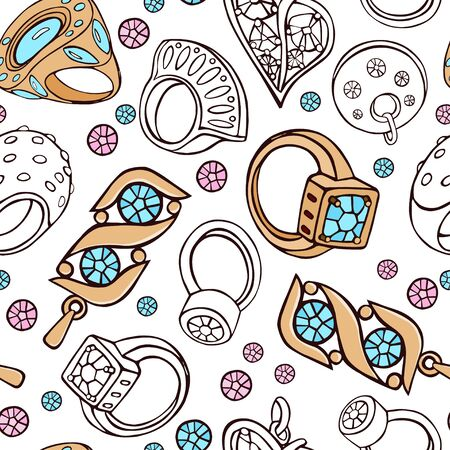 Gold jewelry, rings, pendants, blue and pink crystals on a white background. Seamless pattern. Pattern suitable for textiles and gift paper.