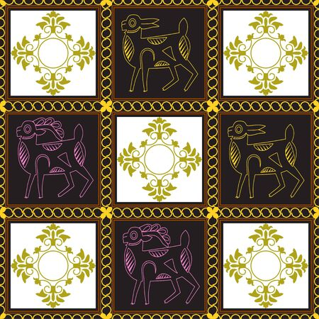 Ancient depicting a goat and doe. Drawing of animals in dark squares framed by a chain. Motives of ancient Byzantine and Chinese fabrics. Suitable for furniture upholstery, textile, paper. Иллюстрация